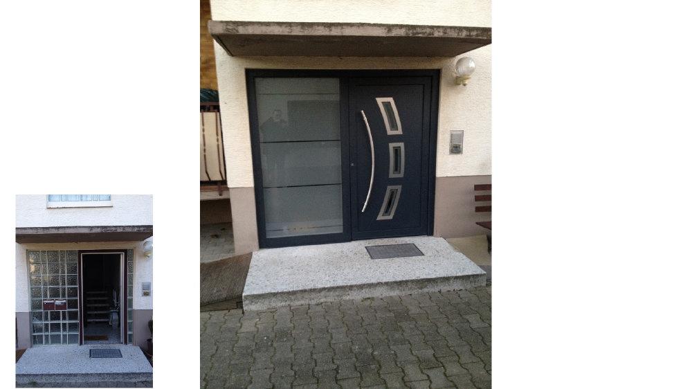Aluminium Haustüre SEDOR Mit Seitenteil Und Glaseinsatz Vor Und Nach Der  Renovierung. U003e