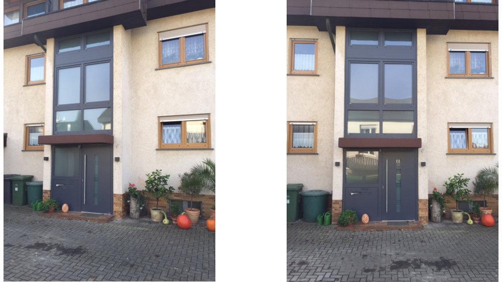 Aluminium Haustür Mit Seitenteil, Briefkasten Und Sprechanlage,  Treppenhaus Verglasung, Fenster