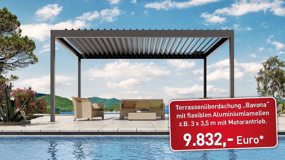 pergola mit lamellendach bavona tp6500 3 x 3 5m abverkauf restposten angebote sortiment. Black Bedroom Furniture Sets. Home Design Ideas