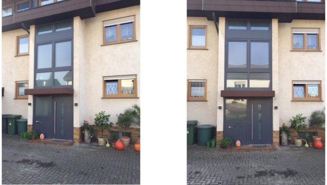 Aluminium-Haustür mit Seitenteil, Briefkasten und ...