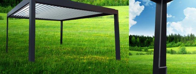Terrassenuberdachung Mit Hl Lamellendach Kurbelbetrieben